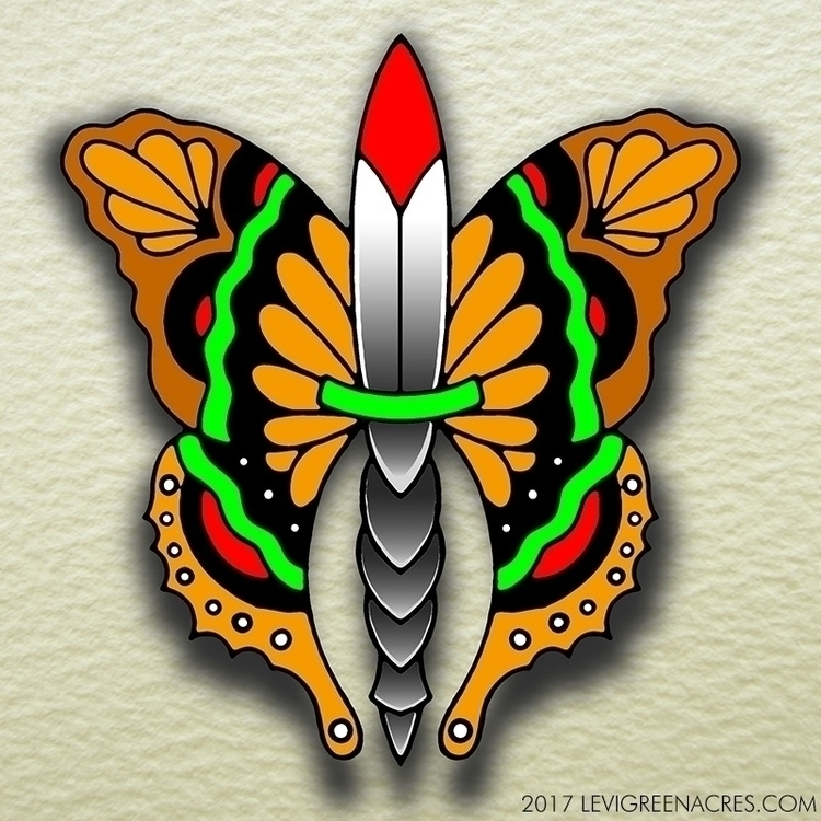 Butterfly, knife, tattooflash. - levigreenacres | ello