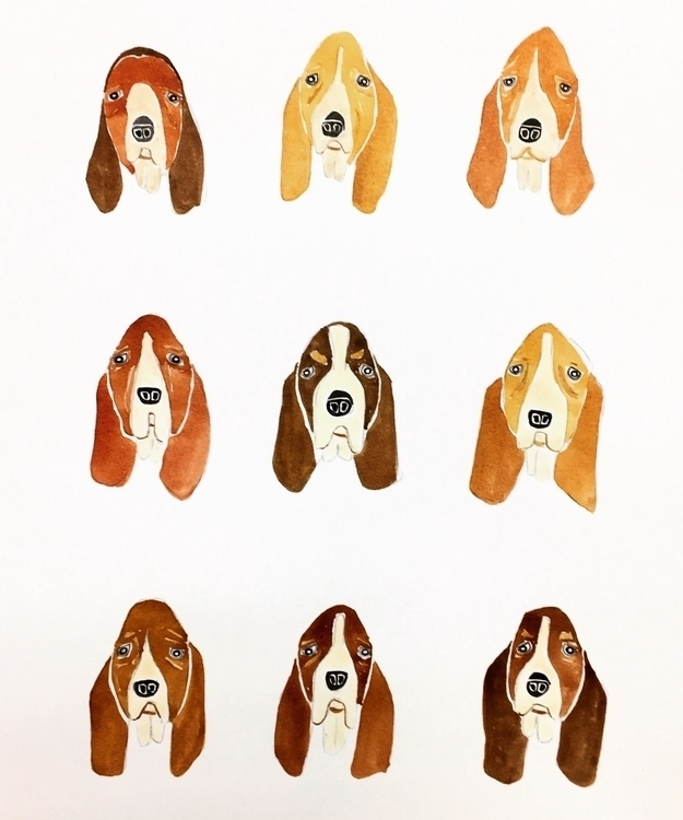 Basset hound faces fun paint:bl - igimidraws | ello