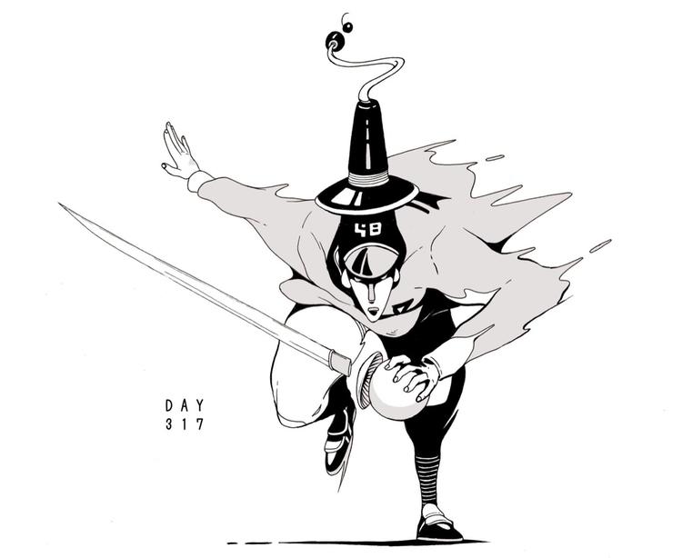 Day 317/365: Rolling Knight - illustration - 1sles | ello