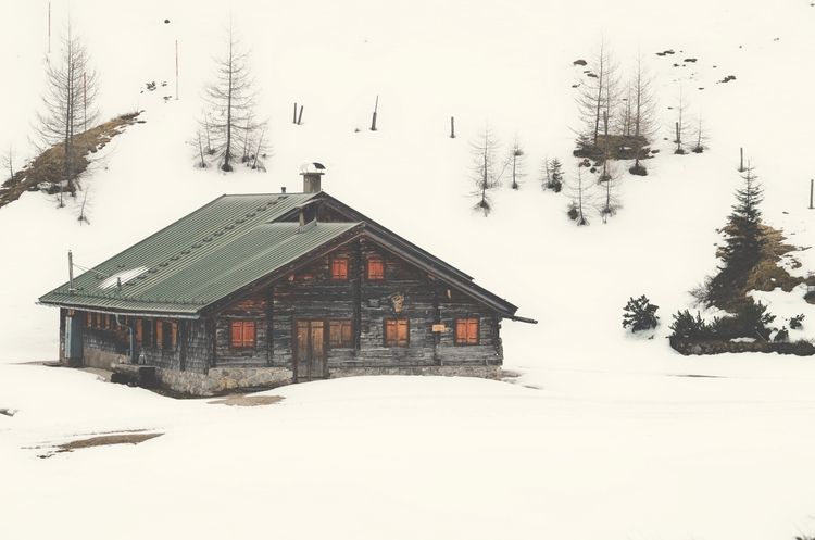 snow, mountains, landscape, hut - wh04m1 | ello