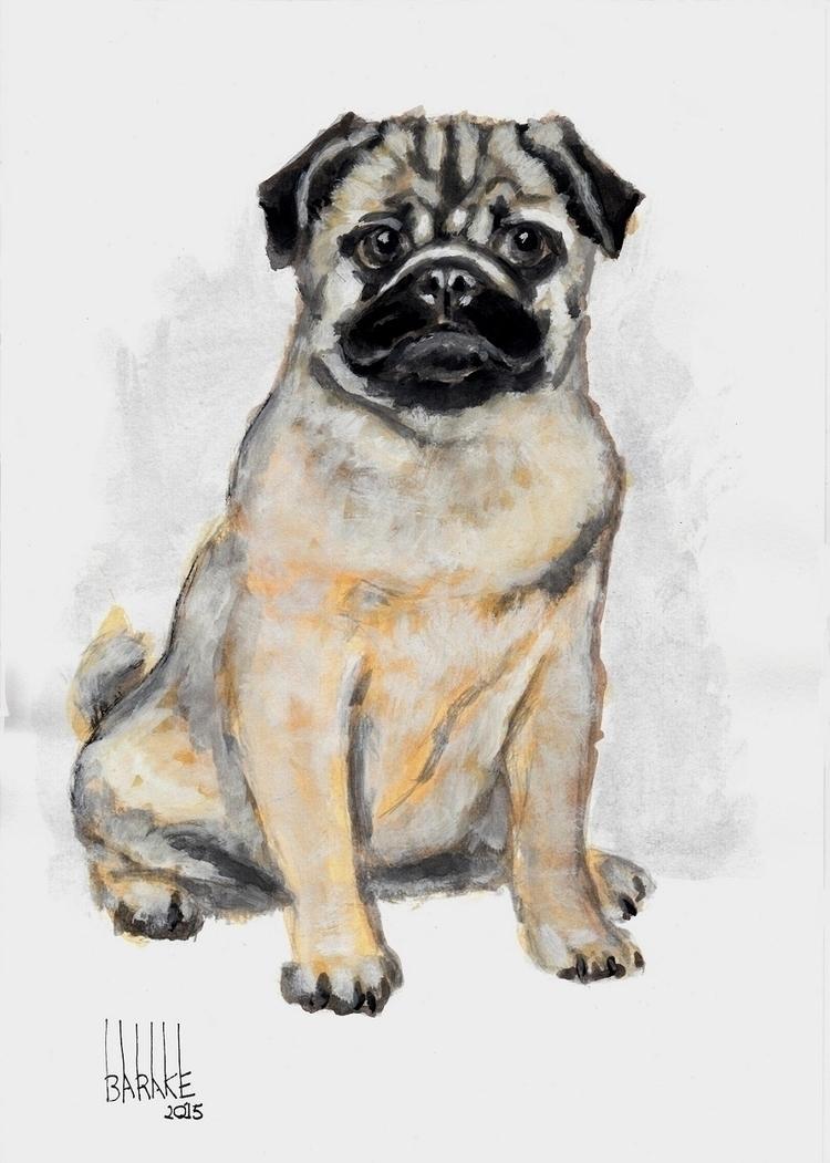 PUG , INK DRAWING - dog, pug, ink - barakesculptor | ello