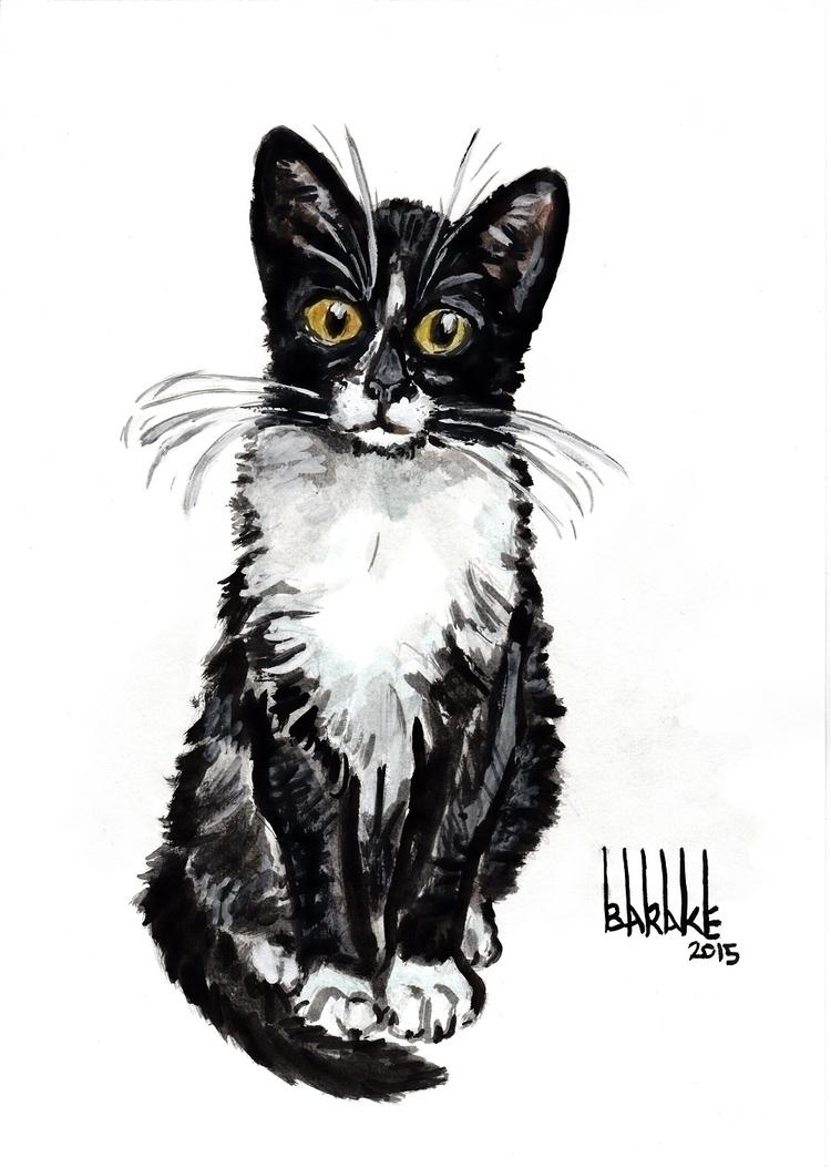 BLACK WHITE - cat, portrait, ink - barakesculptor | ello