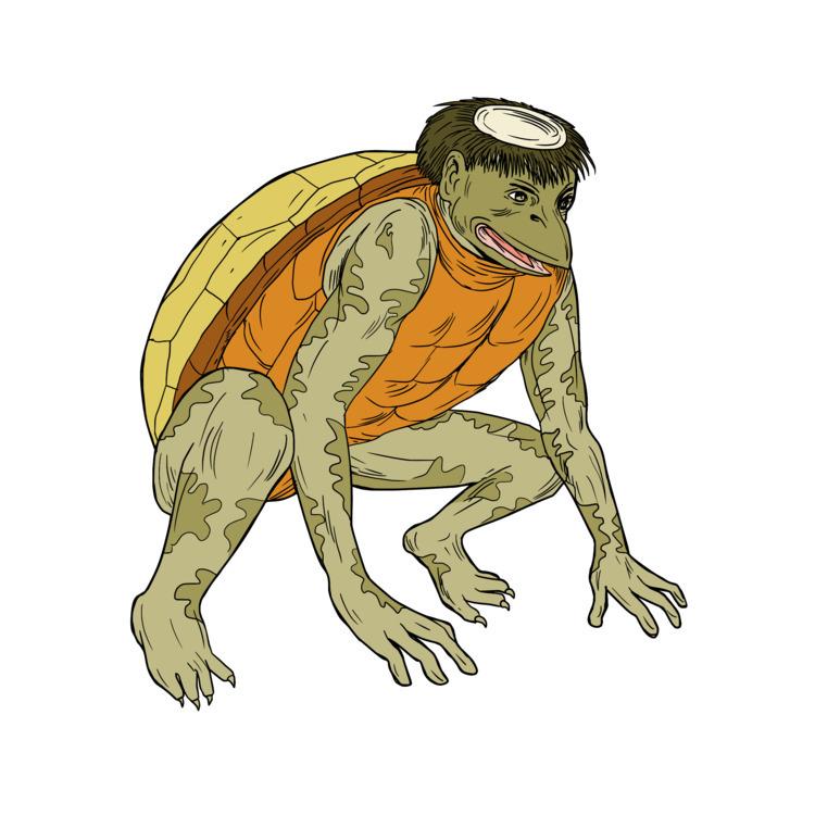 Kappa, Monster, Crouching, Drawing - patrimonio | ello