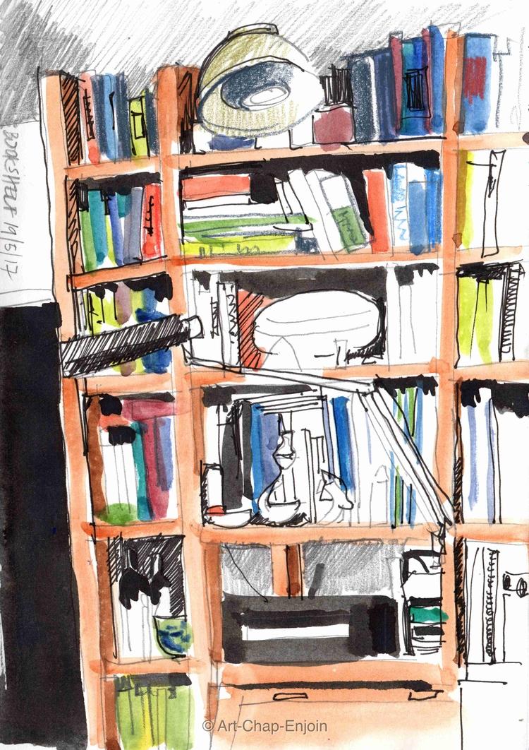 - Bookshelf house doodle today  - artchapenjoin | ello