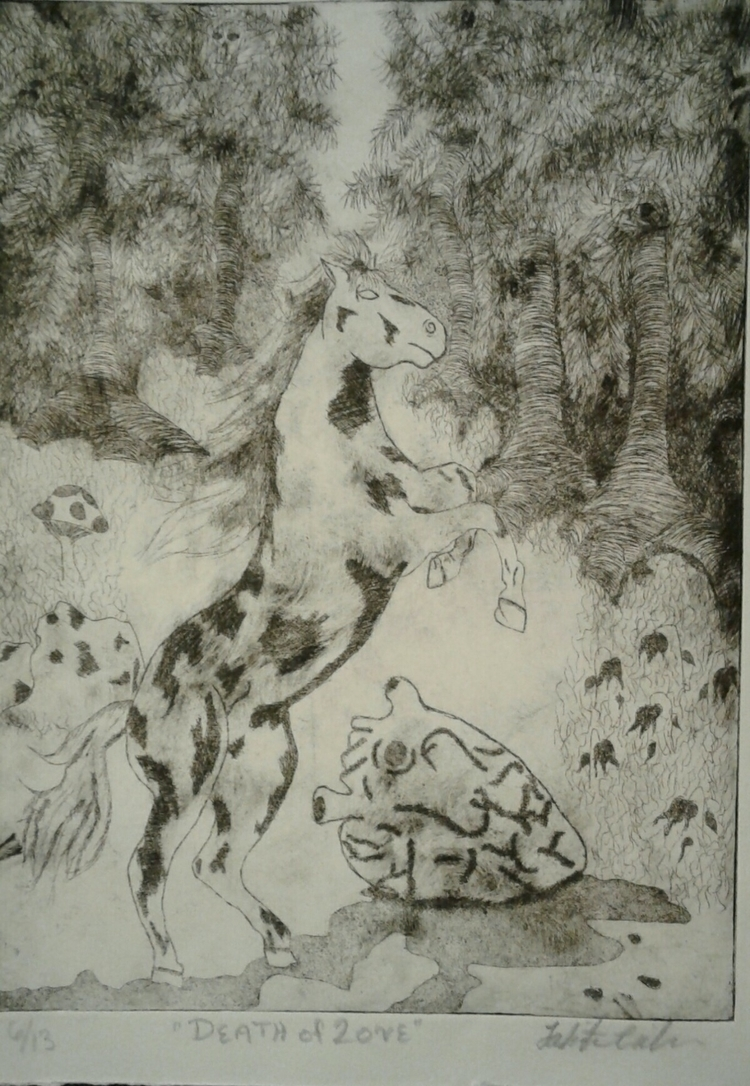 Intaglio print Death Love - printmaking - tabithasoleil | ello