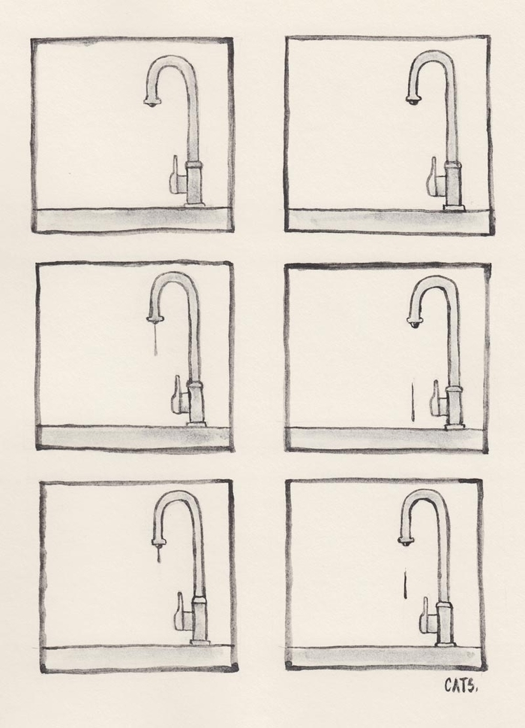 faucet - watercolour, graphite, illustration - catsac | ello