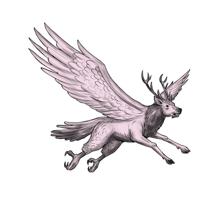 Peryton, Flying, Side, Tattoo - patrimonio | ello