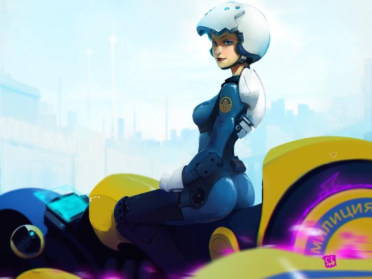 scifi, sexy, cop, illustration - ukimalefu | ello