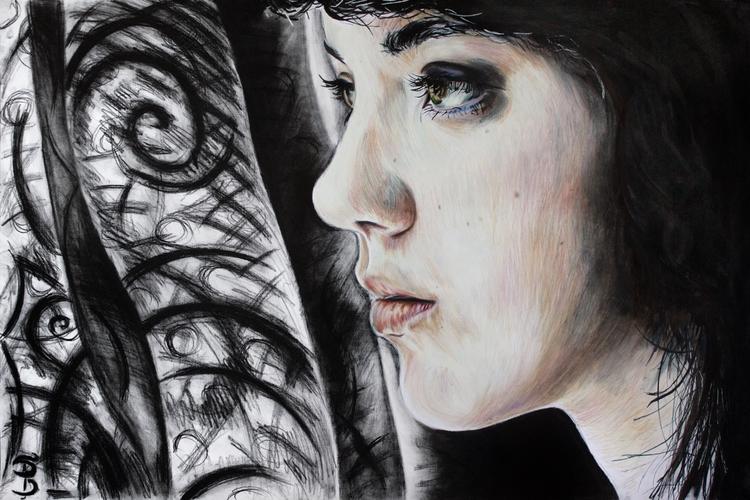 Maya (colored pencil charcoal d - skyler_brown_portraits | ello