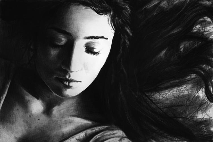 Sleep II (charcoal drawing) Sky - skyler_brown_portraits | ello