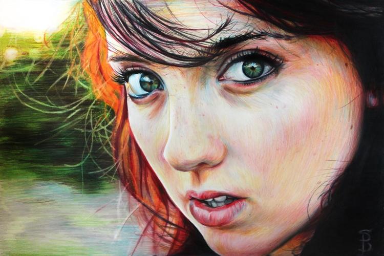 Eyes Kat (colored pencil drawin - skyler_brown_portraits | ello