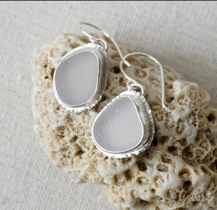Light lavender sea glass earrin - cjsseashop | ello