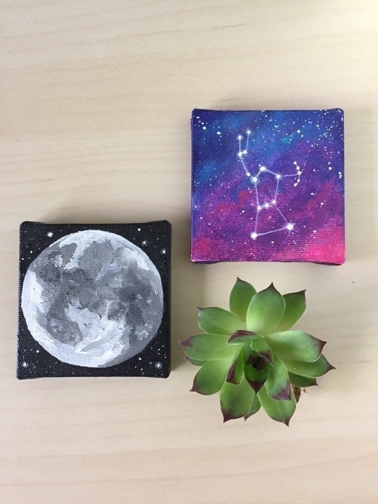Mini space art! moon commission - chrissysparksart | ello