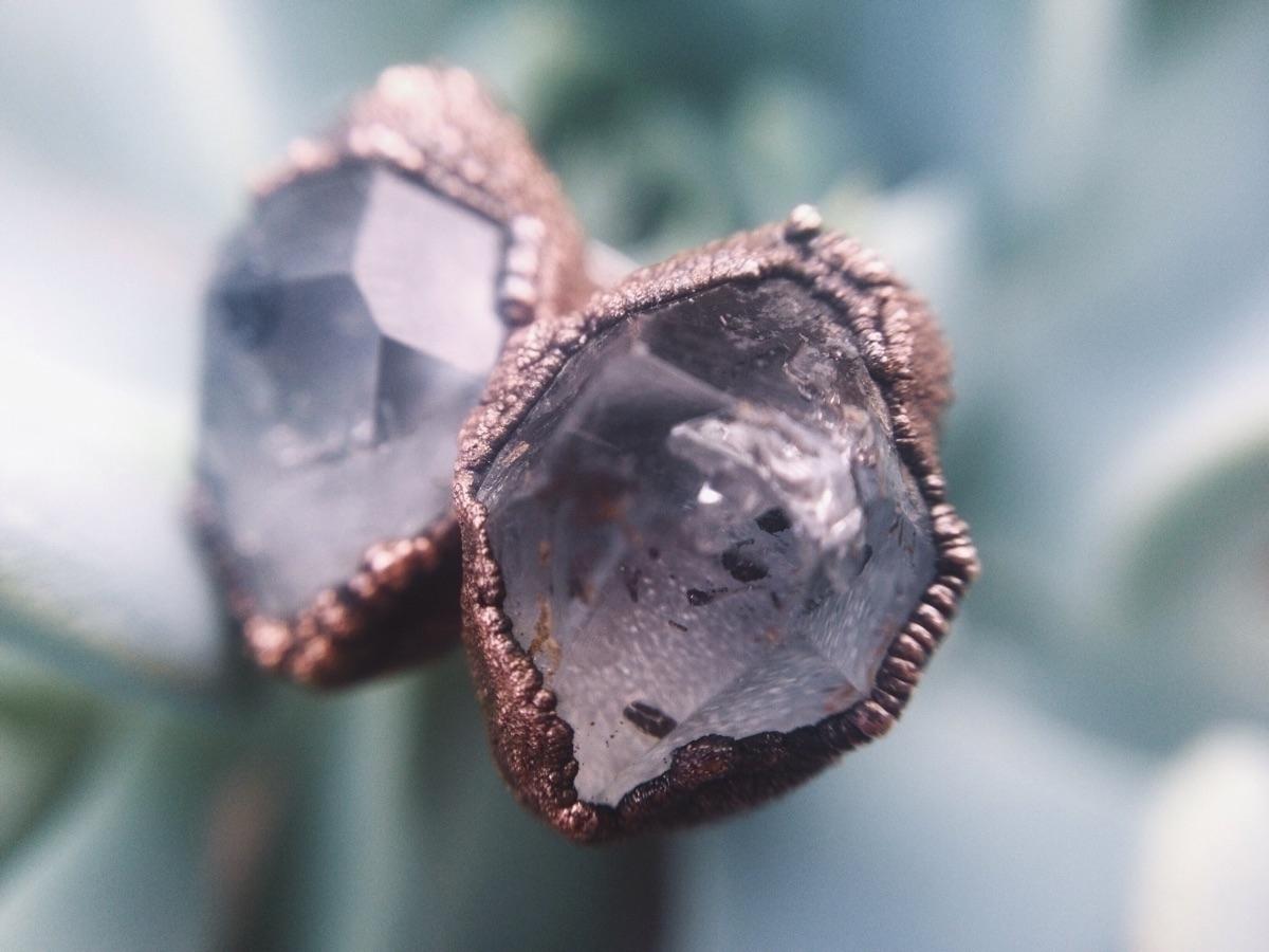 Herkimer diamond studs making w - crystalsandsucculents | ello