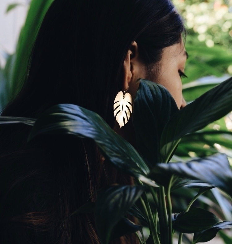 Monstera earrings full brass - monstera - crystalsandsucculents | ello