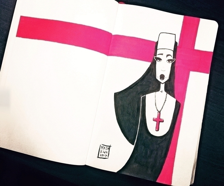 nun, cross, illustration, ink - majaewa | ello