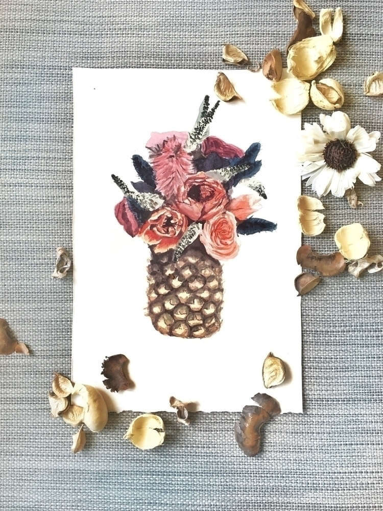 flower, watercolor, pineapple - sha1nee | ello