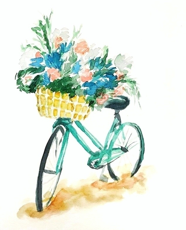 watercolor, bike, green, turquoise - sha1nee | ello