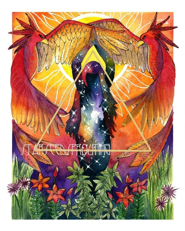 Fire Elemental art prints Etsy  - starseedsprouting   ello