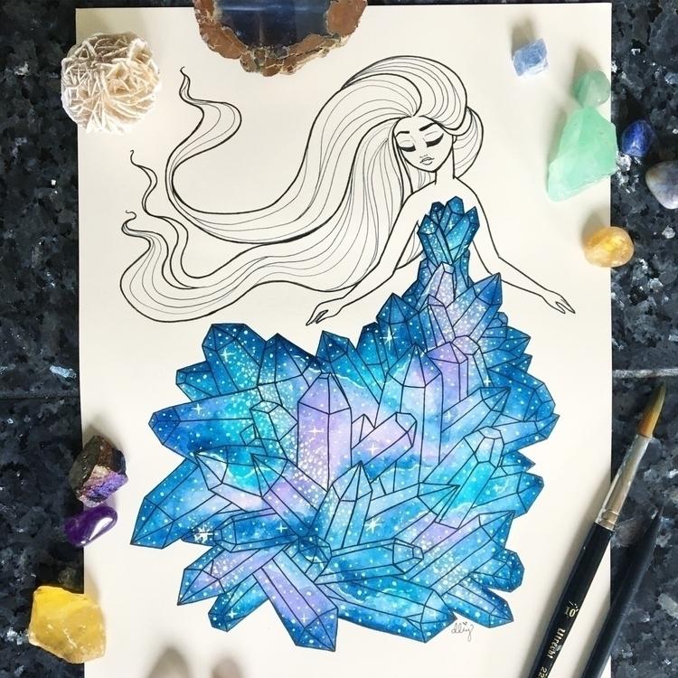Galaxy Crystal Girl - crystal, crystals - danielleboinayart | ello