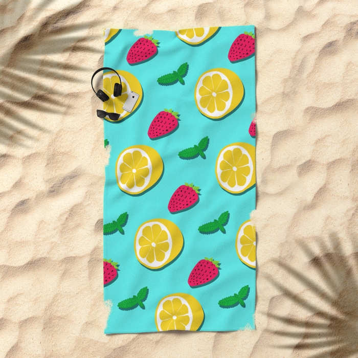 Fruit Party beach towel Seamles - designdn | ello