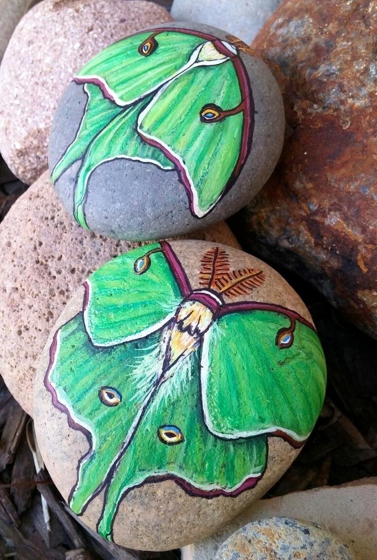 Luna Moth stones! spoken front - lotusandnightshade | ello