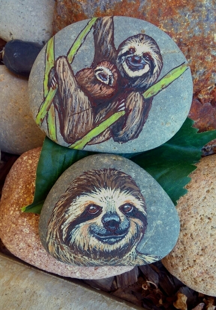 Sweet sloth painted stones shop - lotusandnightshade | ello