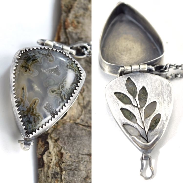 Moss agate locket hidden sage - metalsmith - lithicdesign | ello