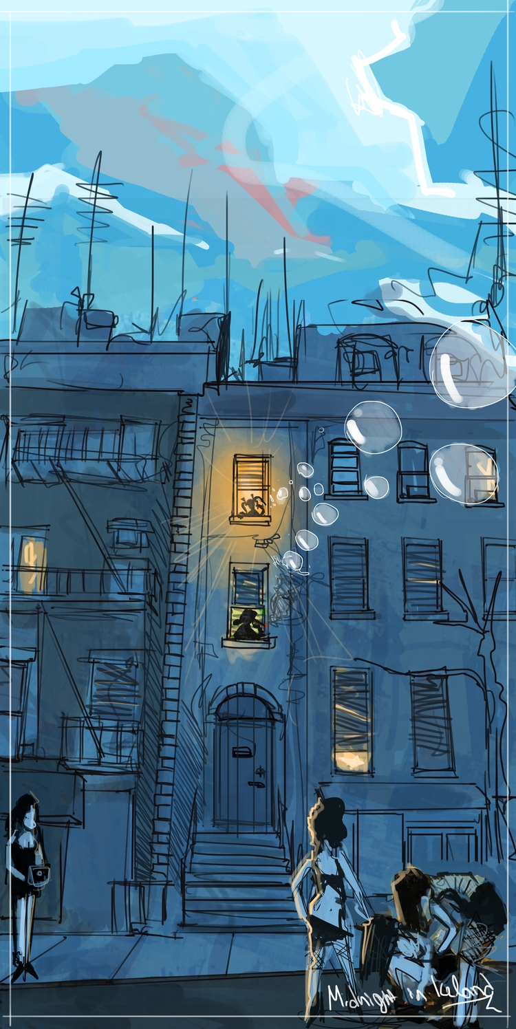 Midnight Iceland - drawing, drawings - sofiabristol   ello