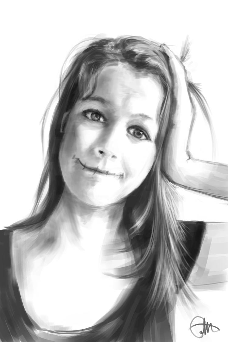 Girl Portrait page_2 art white - alexpoint | ello