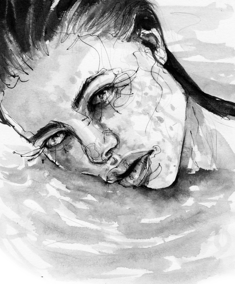 drowning - fashionillustration, fashion - ibreathart | ello