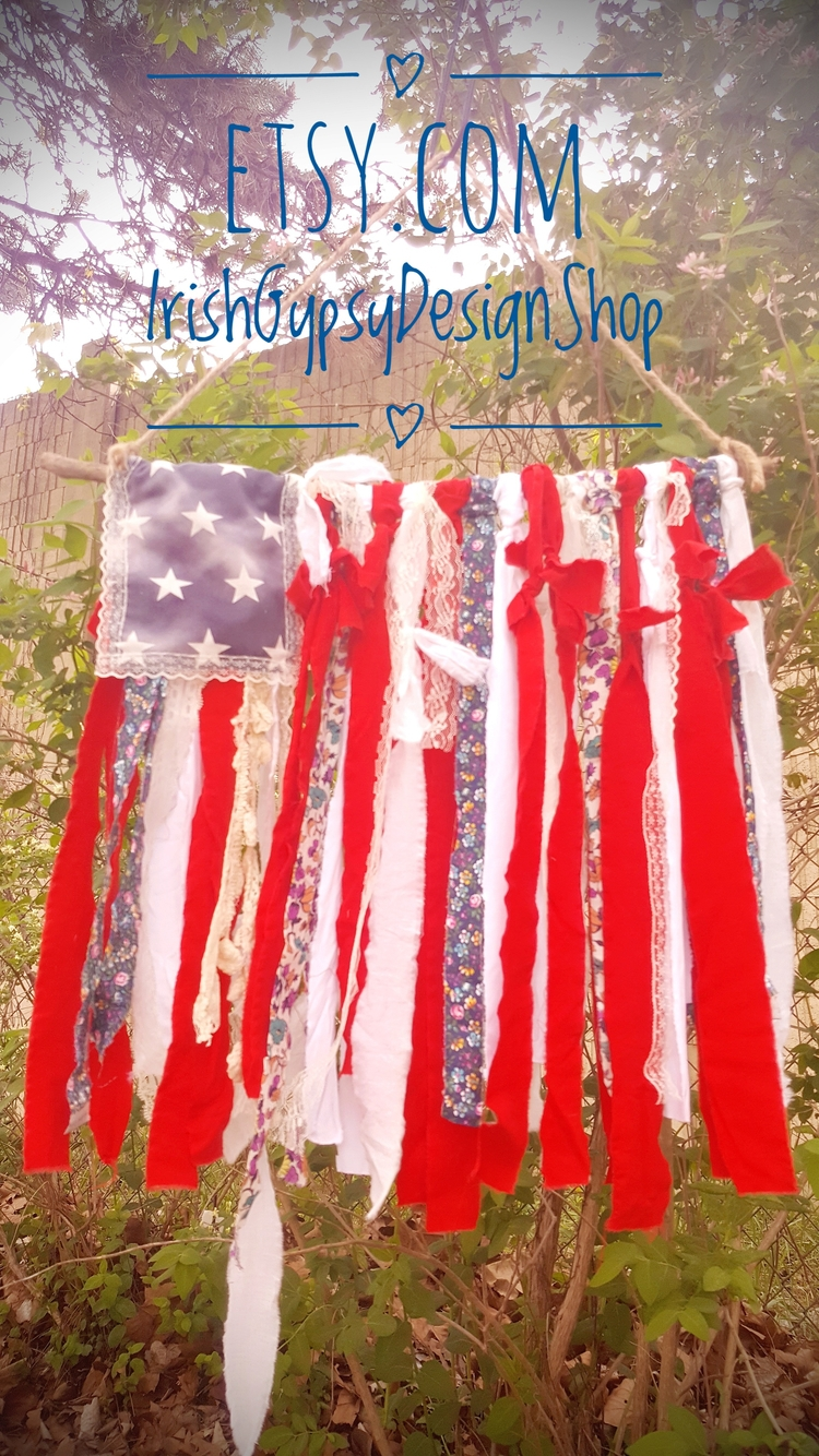 bohoamericanflag, ragflag, bohemiandecor - irishgypsydesignshop | ello