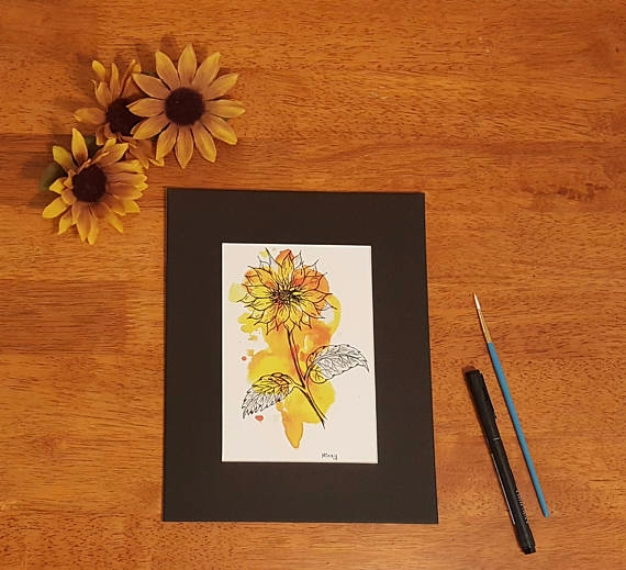 Brighten day 5x7 Sunflower Prin - gypsysoulartistry | ello