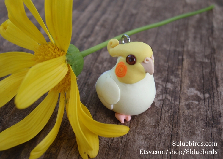 custom cockatiel charm commissi - 8bluebirds_studio | ello