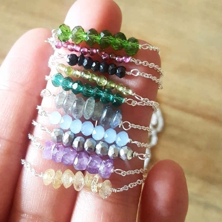 Dainty gemstone bar necklaces.  - soul_sisterss | ello