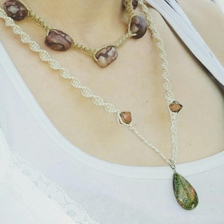 Hemp necklace unakite beads, to - hempharmony | ello