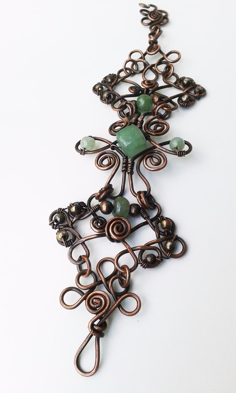 Jade bracelet, copper wire brac - deedooleedoodoo | ello