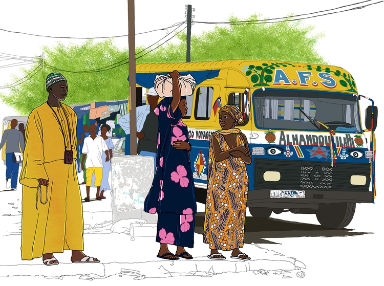travelbook Senegal. Bus stop hi - digitalillustrationworks | ello