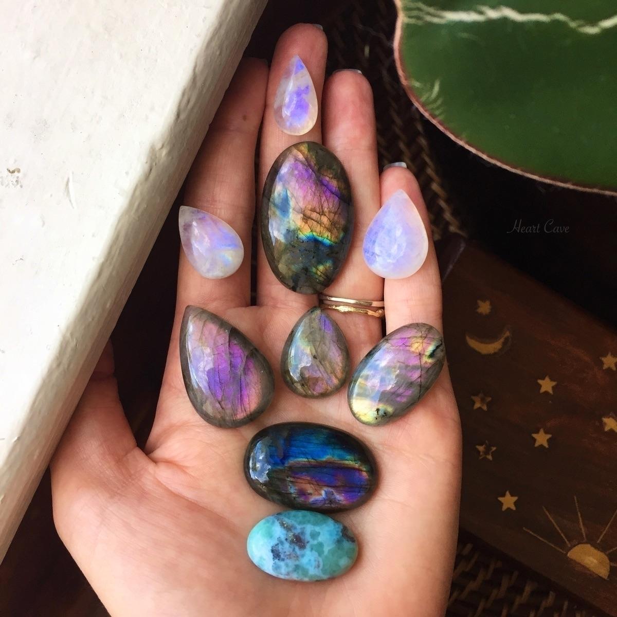 ellocrystals, labradorite, moonstone - heartcavejewelry   ello