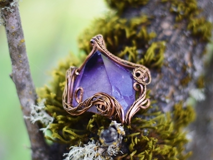 Amethyst pendant wrapped antiqu - alaskamooon | ello