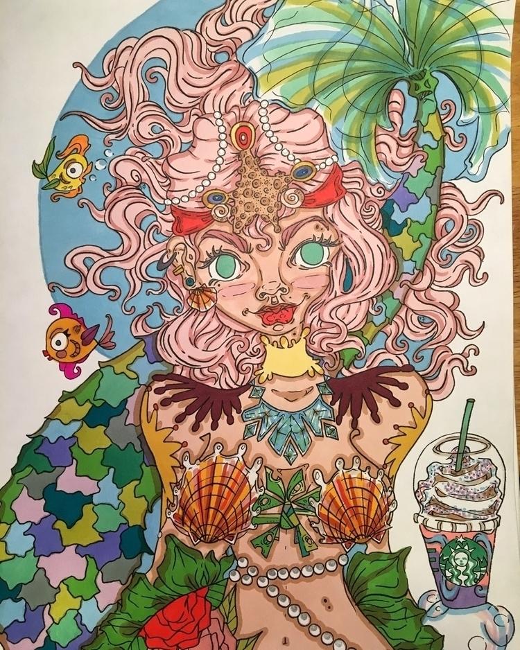 ! mermaid drinking unicorn late - laurenkeresey | ello