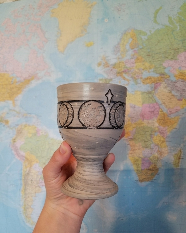 ball clay magical moon goblet - pottery - handtoearthceramics | ello