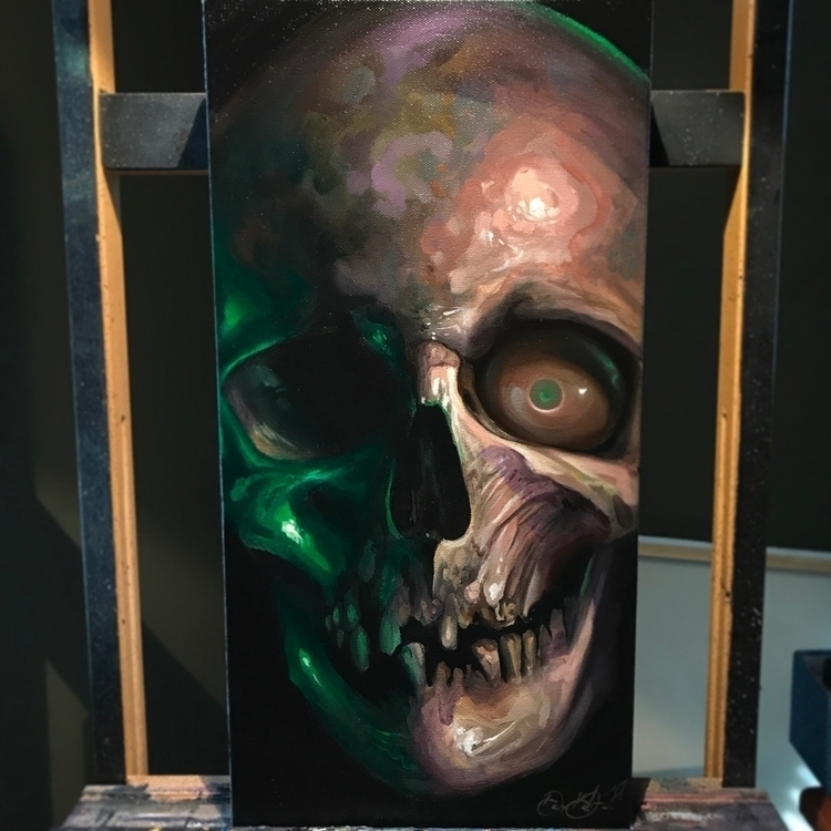 10x20 Oil canvas - skull, oilpainting - dankobasicarts | ello