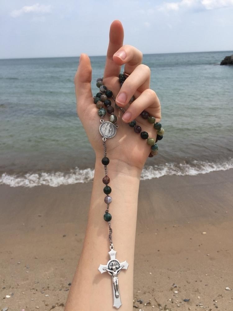 Indian Agate grey silk rosary S - librasgarden   ello