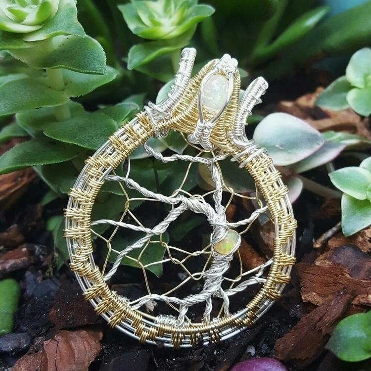 Ethiopian opal tree life - wirewrap - twisteddearth | ello