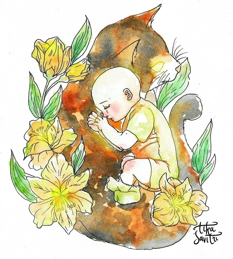 Calico Baby Boy - watercolor, painting - tikasavitri | ello