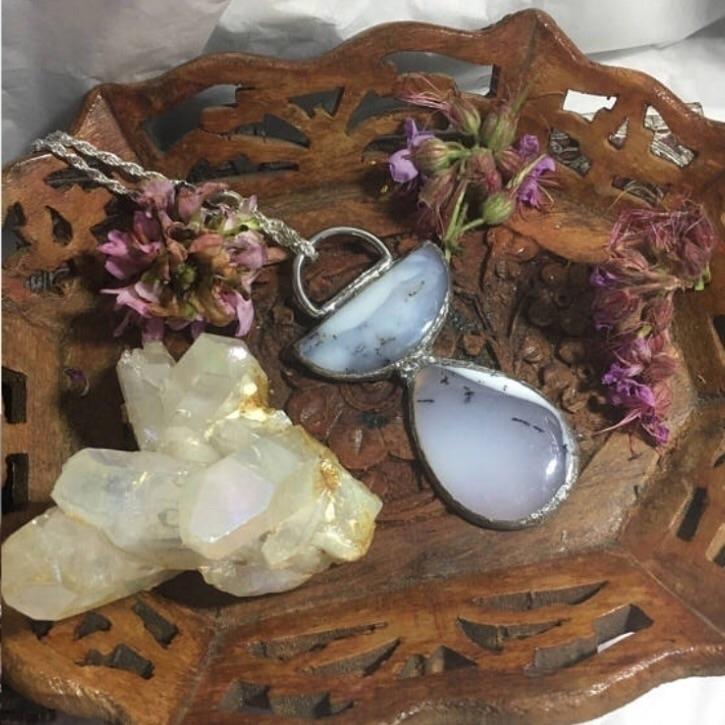 Handmade Dendritic Opal Cabocho - kristalcave   ello