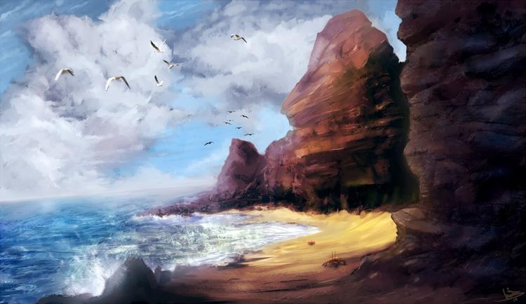 Golden coast - sandy, beach, rocks - malthus_wolf | ello
