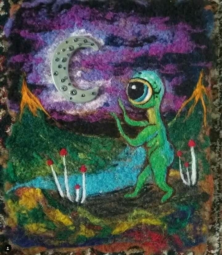 Seeking MoonBerries - needlefelting - artbydevinashleigh | ello