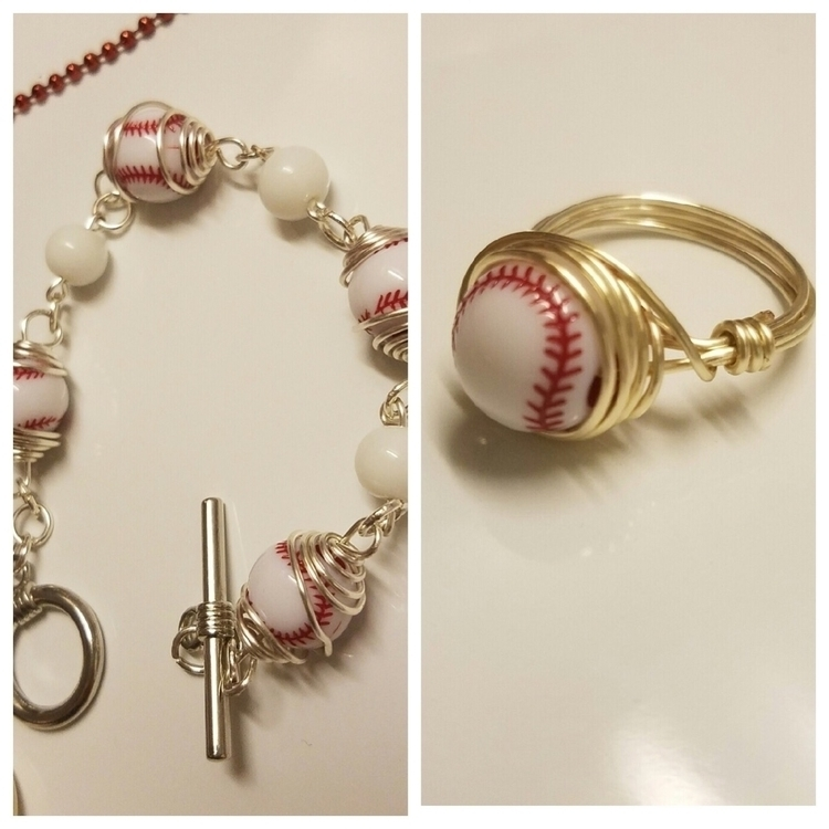 Caged beaded baseball/ring set  - keeleykreation | ello